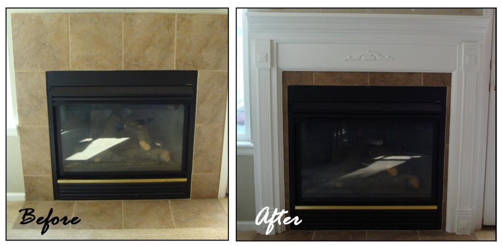 Before and after custom mantel