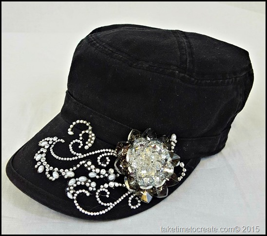 black cadet hat side view