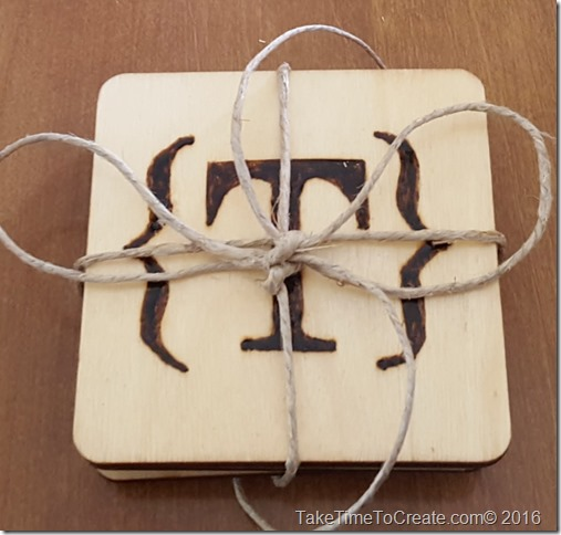 monogram wood burn coaster