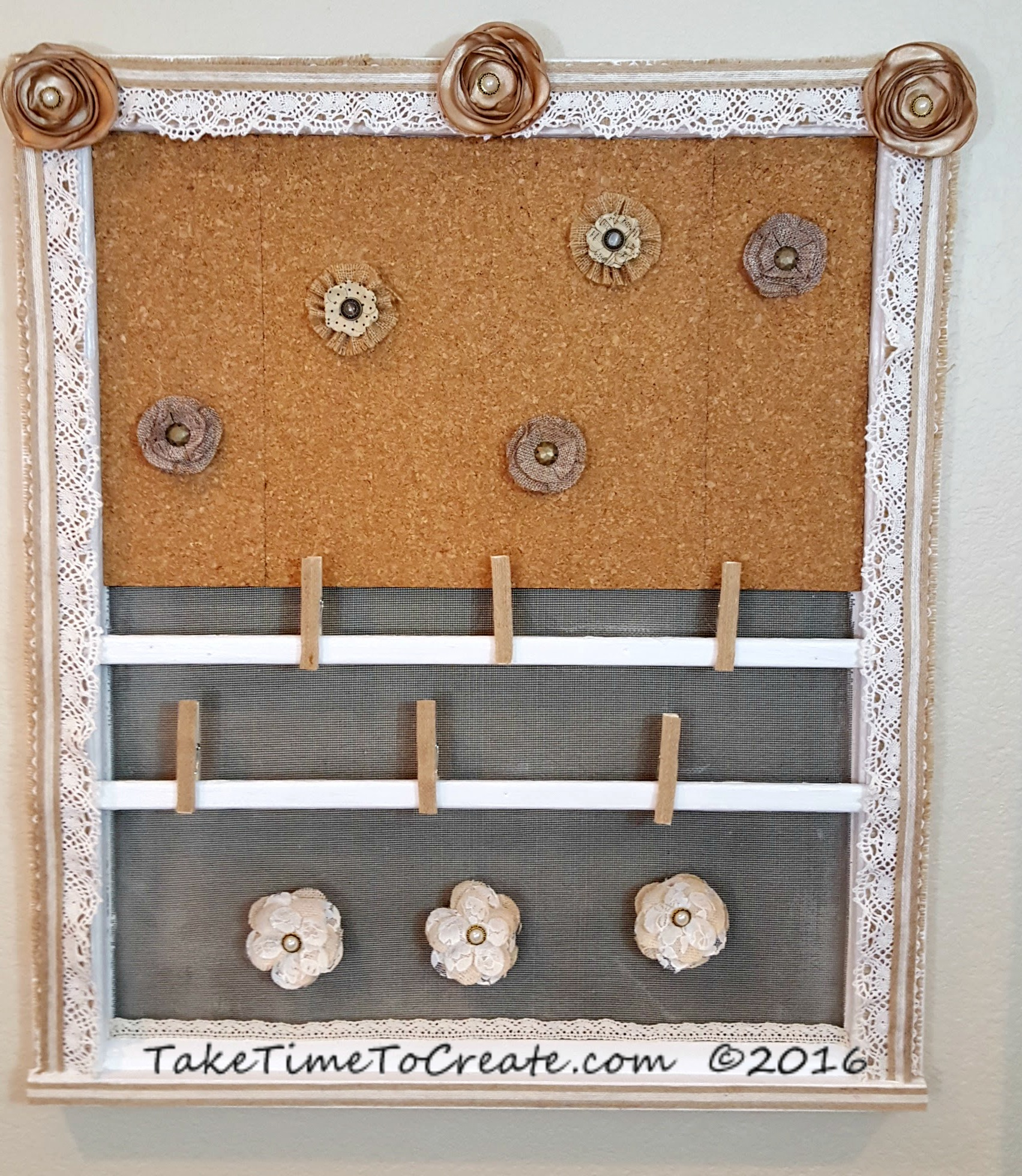 repurpose window to shabby chic message board