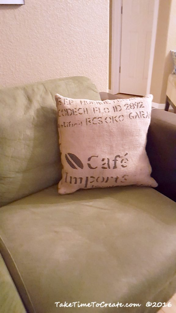 sewing craft project burlap pillow case