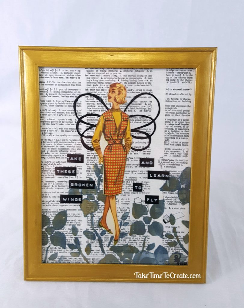 Vintage sewing pattern collage take these broken wings and learn to fly