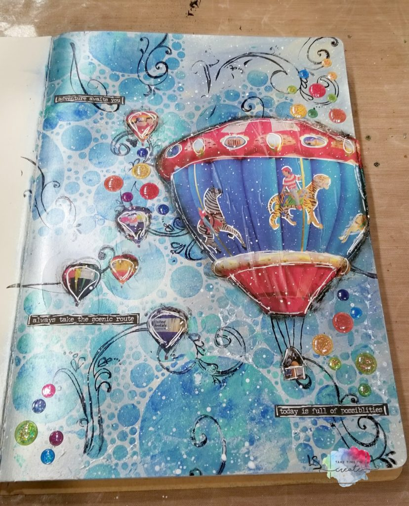Hot Air Balloon Art journal page