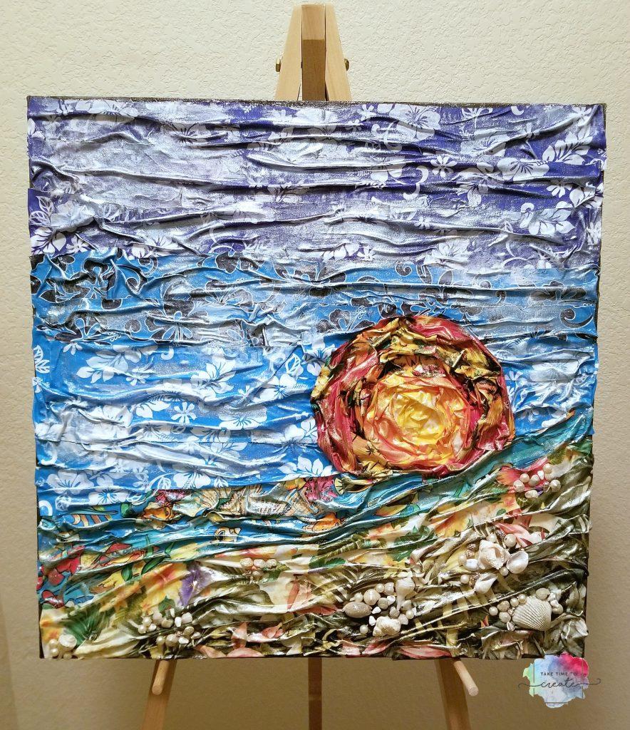 Fabric Beach Landscape Mixed Media Canvas