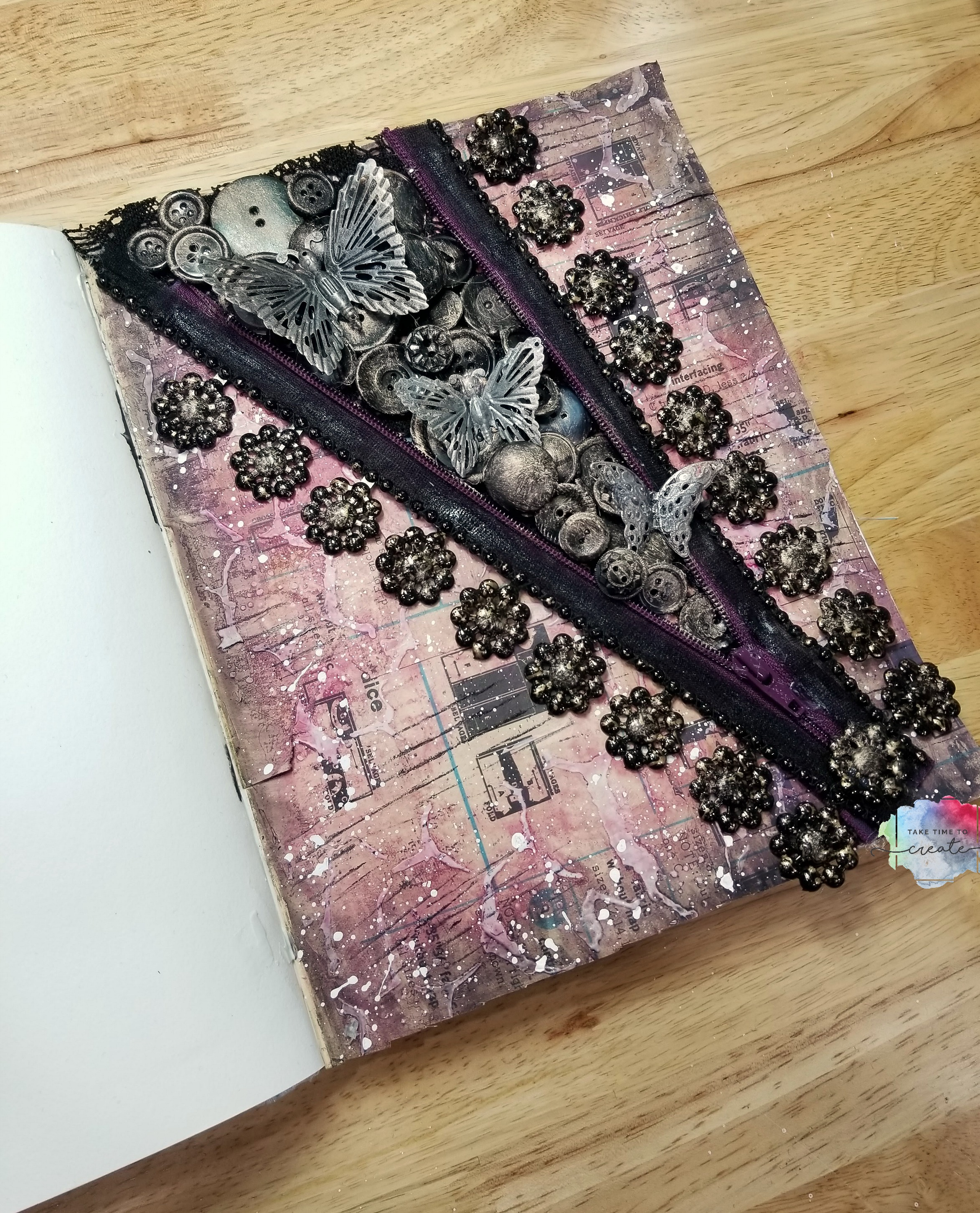 zipper and buttons art journal page take time to create