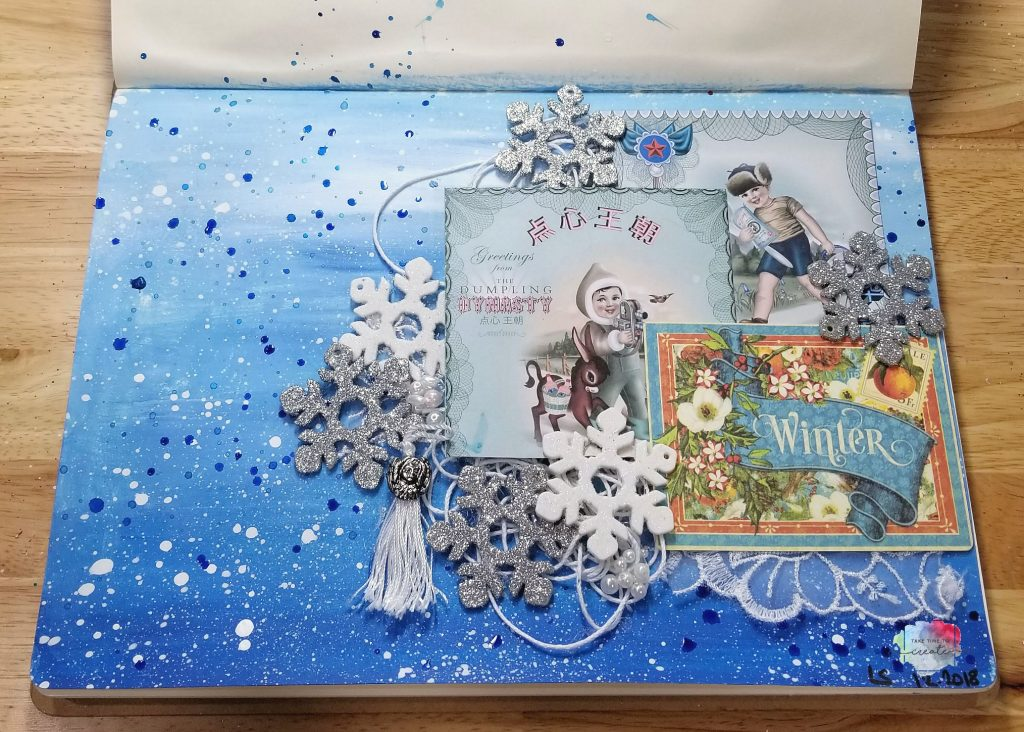 Winter art journal page