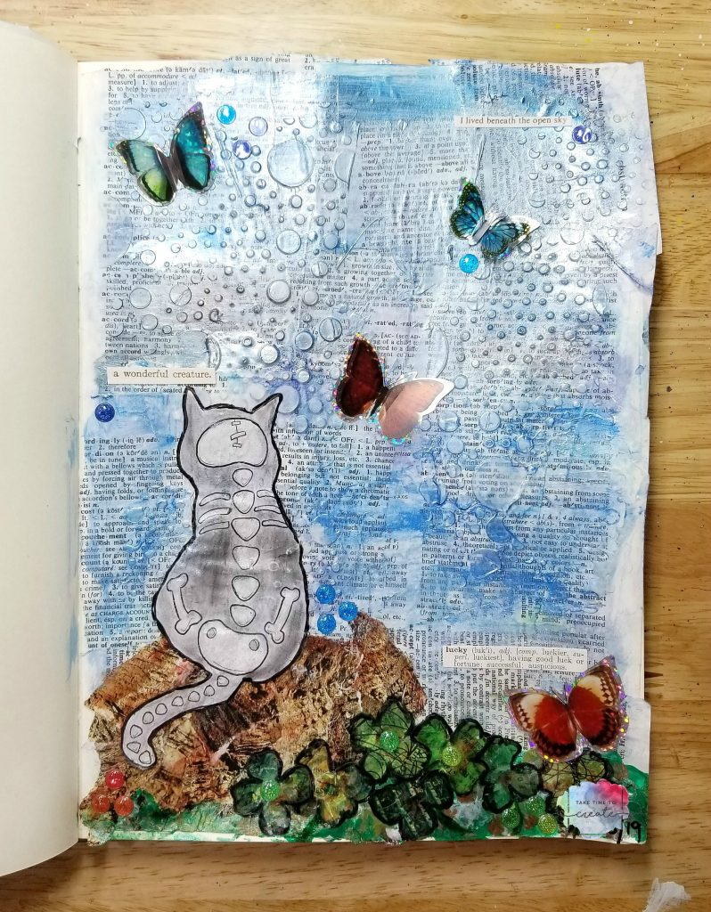 Cat and butterflies March Oddball Challenge